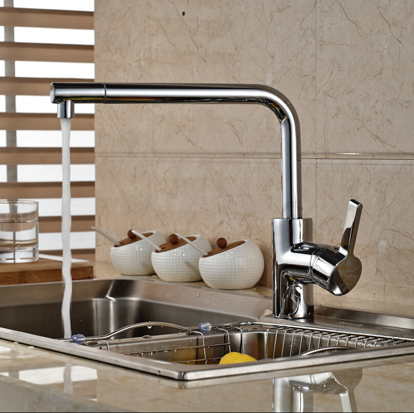 Chrome Finish Swivel Spout Kitchen Sink Faucet Single Handle Deck Mounted Mixer Tap led spout swivel spout kitchen faucet vessel sink mixer tap chrome finish solid brass free shipping hot sale
