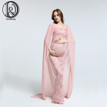 New-Arrival! Soft chiffon with lace free size maternity  cloak tube top straight dress  maternity photography props