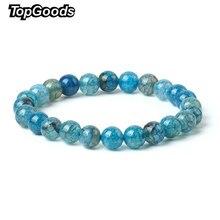 e7a1c2d17cbb 2018 nueva Natural Crackle pulsera azul ágata pulseras para las mujeres 8mm  suelta Onyx piedras preciosas