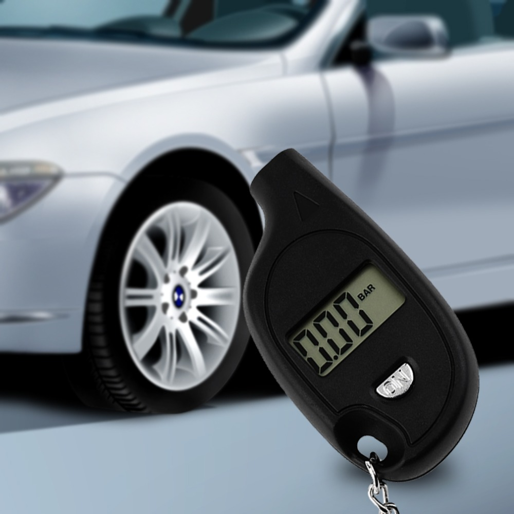 1Pc Mini Keychain LCD Digital Car Tire Tyre Air Pressure Gauge Auto Motorcycle Test Tool With Cell Lithium Battery Brand New