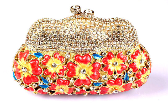 Fl Red Branded Clutches Online Ping Beautiful Designer Clutch Handbags For Women Inexpensive Occasion Crystal