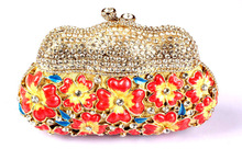 Floral Red Branded Clutches Online Shopping Beautiful Designer Clutch Handbags for Women Inexpensive Occasion Crystal Clutch
