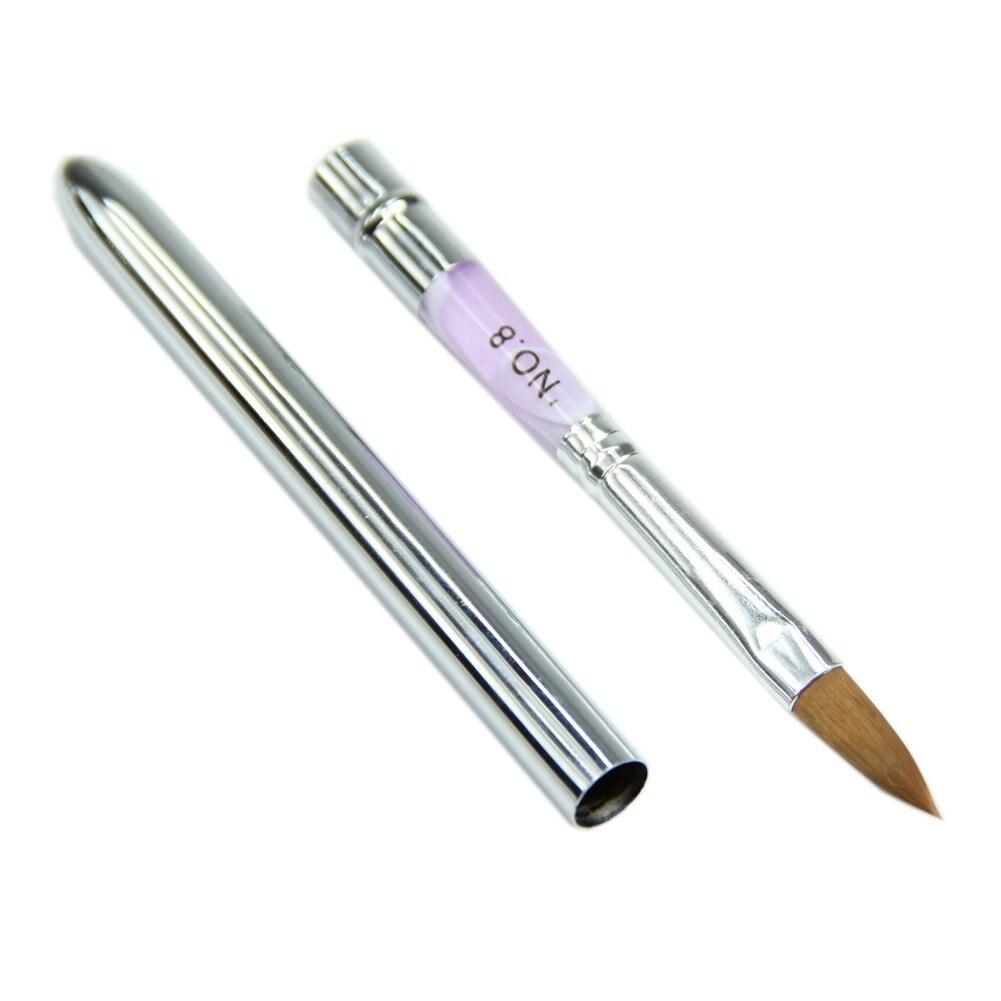 Best Sale No.8 Purple Decoration Design Aluminum Pole Nail Art Brush Drawing Pen Nail Art Builder For Acrylic 17.5cm