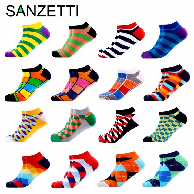 SANZETTI 16 Pairs/Lot Men Casual Colorful Summer Socks Combed Cotton Happy Ankle Socks Plaid Stripes Geometric Boat Socks Gift