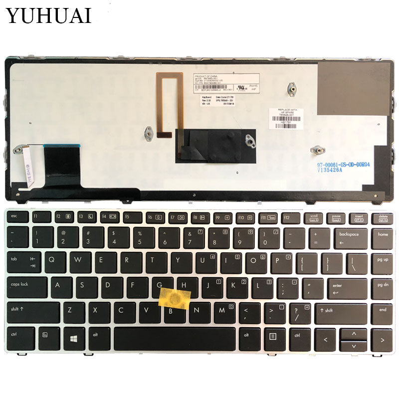 New US laptop keyboard FOR HP EliteBook Folio 9470M 9470 9480 9480M silver frame with backlight