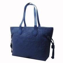 2017 neue Mode Einfarbig Echtem Leder Schaffell Taschen Weben Handtaschen frauen Schultertasche Weave Satchel handtasche weiblichen