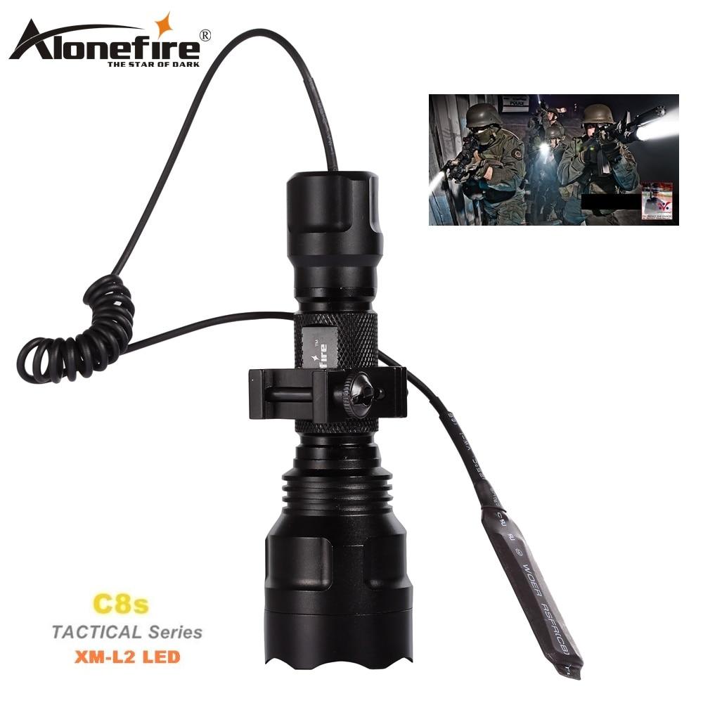 AloneFire Тактичний ліхтарик C8 CREE XM-L2 U3 Світлодіодний ліхтар ліхтаря Airsoft Стрілецький приціл Світлові 18650 Акумуляторна батарея