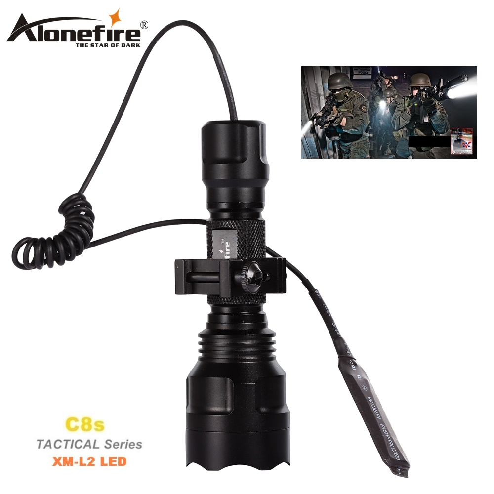 AloneFire Lampu suluh taktikal C8 CREE XM-L2 U3 LED tanglung tanglung Airsoft Rifle Scope Shotguns cahaya 18650 bateri boleh dicas semula