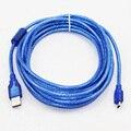 5m 16ft USB 2.0Type A Male to Mini 5P Male Mini 5P USB Cable M/M Double Shielding(Foil+Braided) Premium Quality Transparent Blue