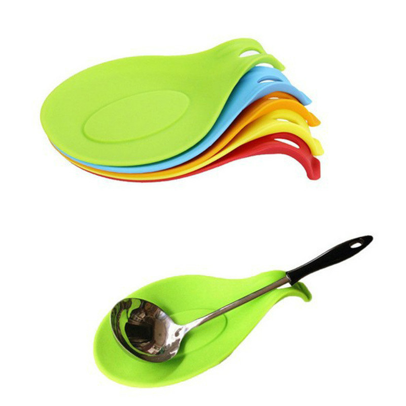 Silicone Insulation Spoon Mat Heat Resistant Placemat Drink Glass Coaster Tray Spoon Pad Pot Holder Kitchen Accessory Spoon Rests & Pot Clips     -