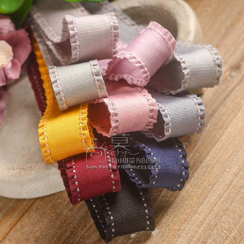 50/100yards 16/25/38mm stitched fringe wrinkle edge grosgrain ribbon for flower bow accessories garment hat