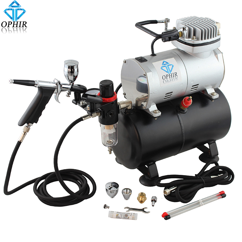 OPHIR 110V 220V Air Tank Compressor w/ Dual Action Spray Gun 0.3 0.5 0.8mm Airbrush Set for Hobby Nail Art Body Paint _AC090+069 ophir pro 2x dual action airbrush kit with air tank compressor for tanning body paint temporary tattoo spray gun  ac090 004a 074