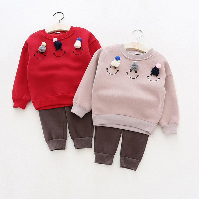 Winter Baby Girls Boy Clothing set 2 Pcs Children's Clothing Toddler Boys Thick Long Sleeve hoodies Tops + Causal Pants Sets