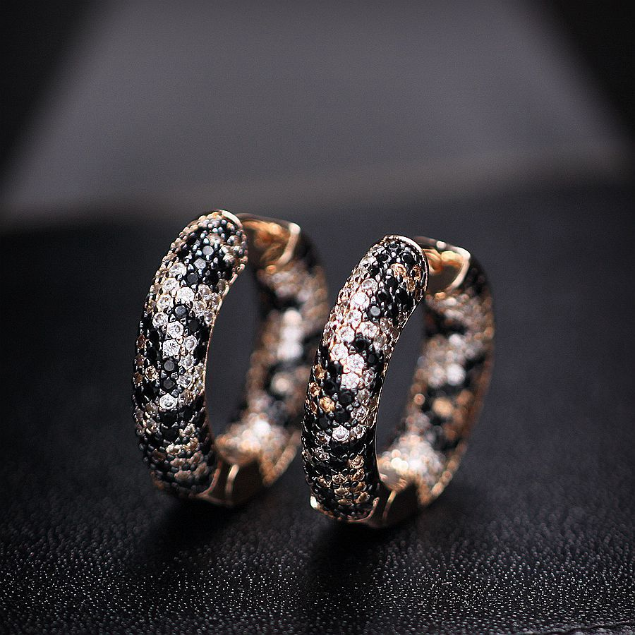 Fashion Leopard Print Hoop Earrings For Women Mixed Color Cubic Zirconia Circle Earrings Women's Fashion Jewelry 2018 New Design