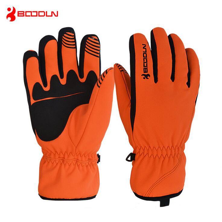 Boodun Waterproof Ski Gloves Windproof Winter Snowmobile Snowboard Gloves Men Women Thermal Fleece Double Layer Cycling Gloves