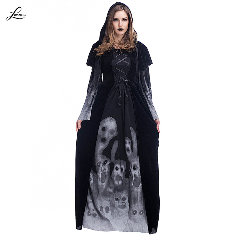 woman 39 s black print skeleton robe vampire witch costumes with hooded cape for halloween party. Black Bedroom Furniture Sets. Home Design Ideas