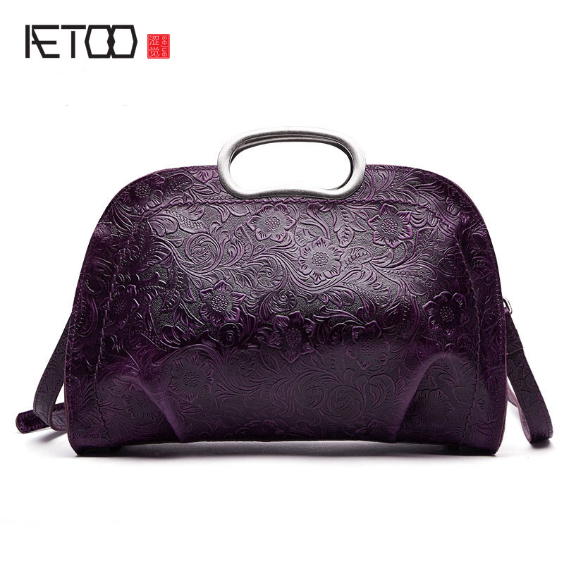 AETOO The new national style classical leather handbags ladies retro fashion handbag shoulder Messenger bag the national high violet