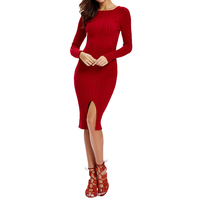 Xinbeauty Autumn Dress 2017 Round Neck Long Sleeve Solid Sheath Bodycon Knitted Sweater Sexy Split Party