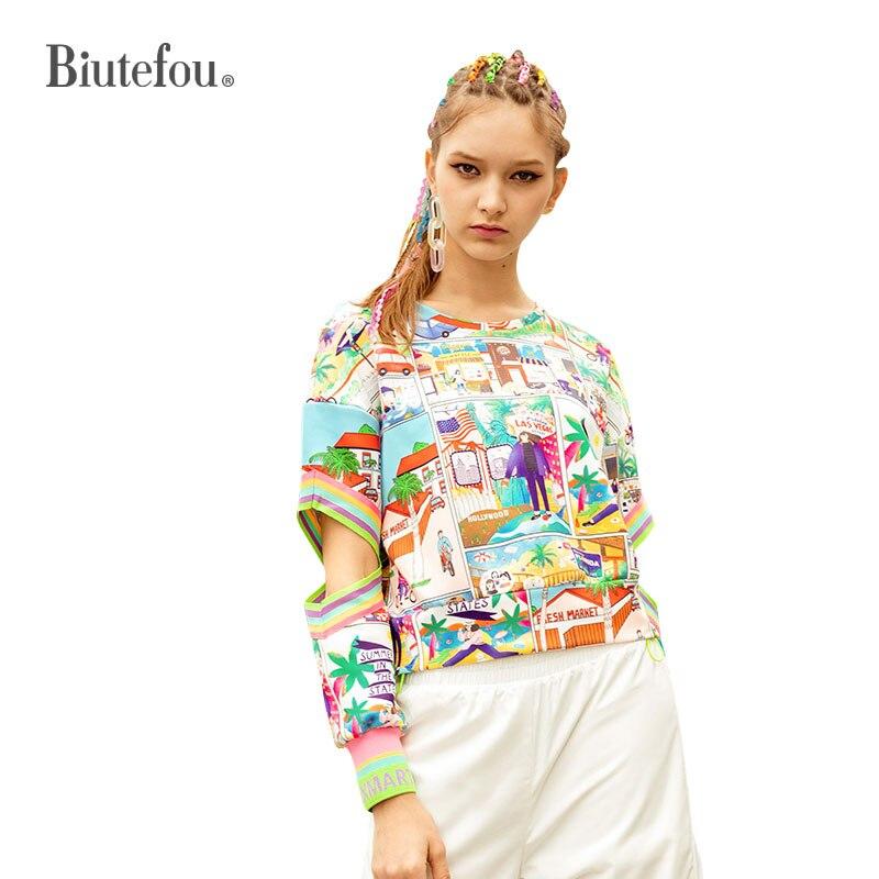 2019 春のファッション中空アウトスウェット女性島風景柄薄スウェット  グループ上の レディース衣服 からの パーカー & スウェット の中 1