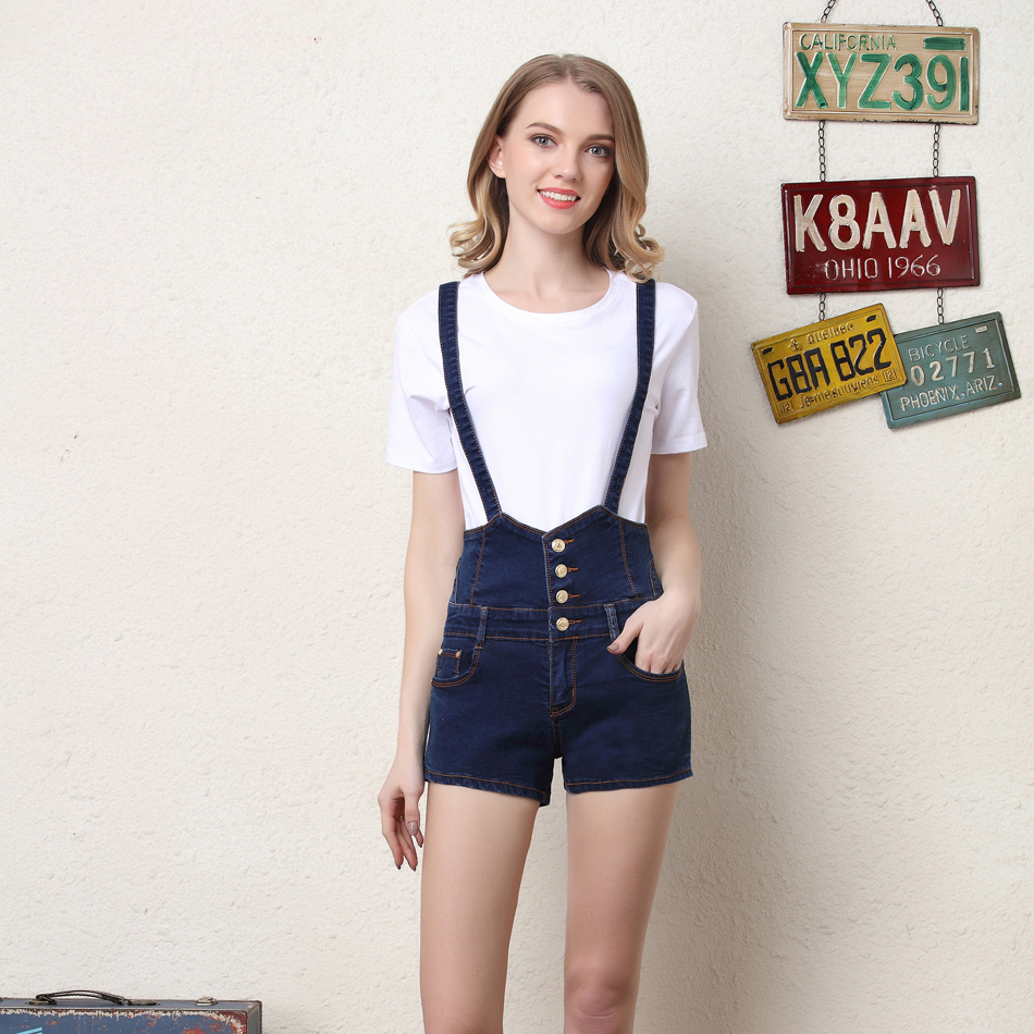 Women Denim Overalls Shorts High Waist Jeans Short ...