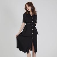 Summer Women's Fashion Shirt Dress Solid Sasah Tunic Party Midi Dresses Ladies Casual Wear Vestidos de festa