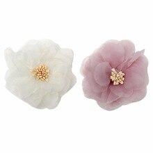 100pcs/lot 2 inch New Fashion Chiffon Flowers Stamen Fabric Mesh Baby Headband For Girls Hair Accessory Headwear