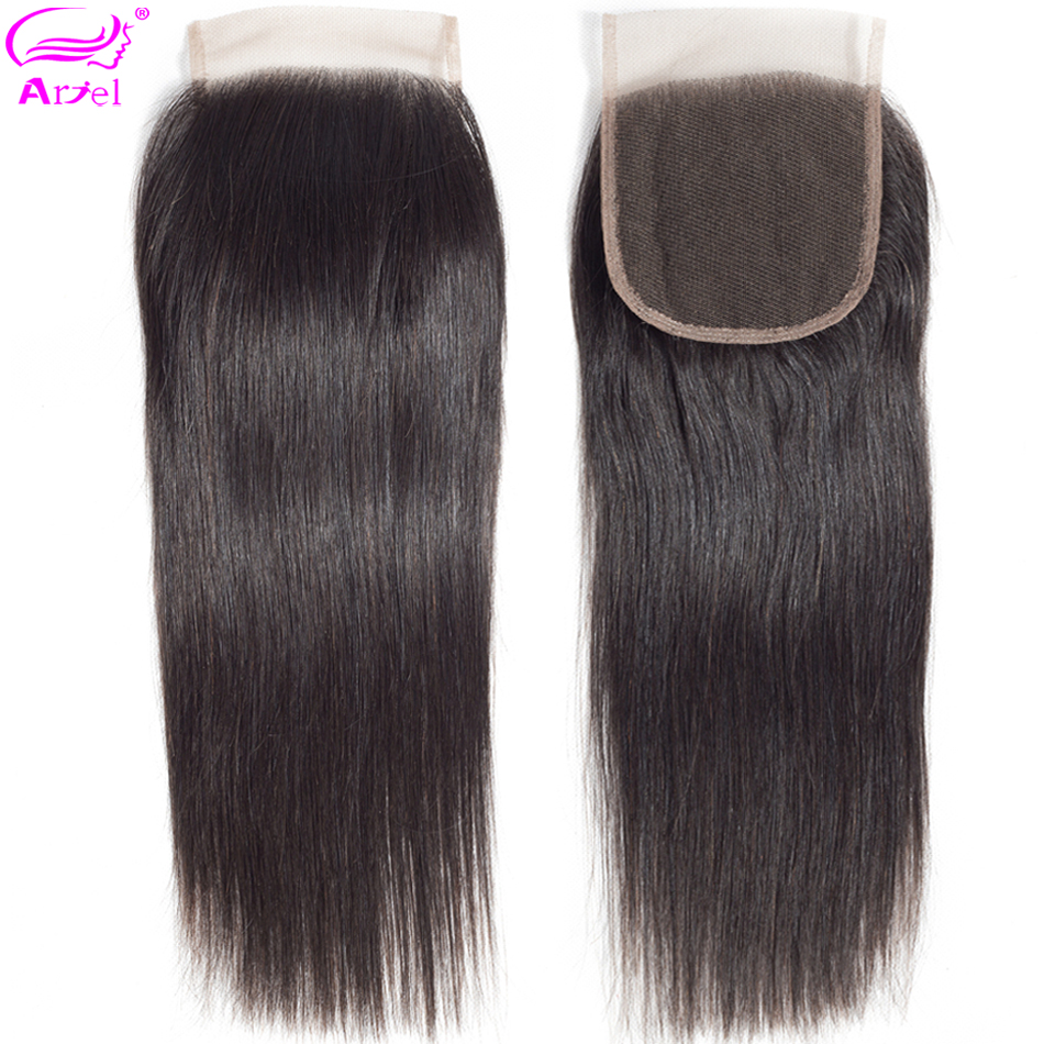 Ariel 4x4 Lace Closure 100% Human Hair Closure Brazilian Hair Weaving Natural Color Non Remy Straight Frontal Closure Free Part(China)