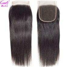 Ариэль 4x4 кружева Закрытие человеческих волос бразильский Инструменты для завивки волос натуральный Цвет Remy Прямые Фронтальная застежка часть