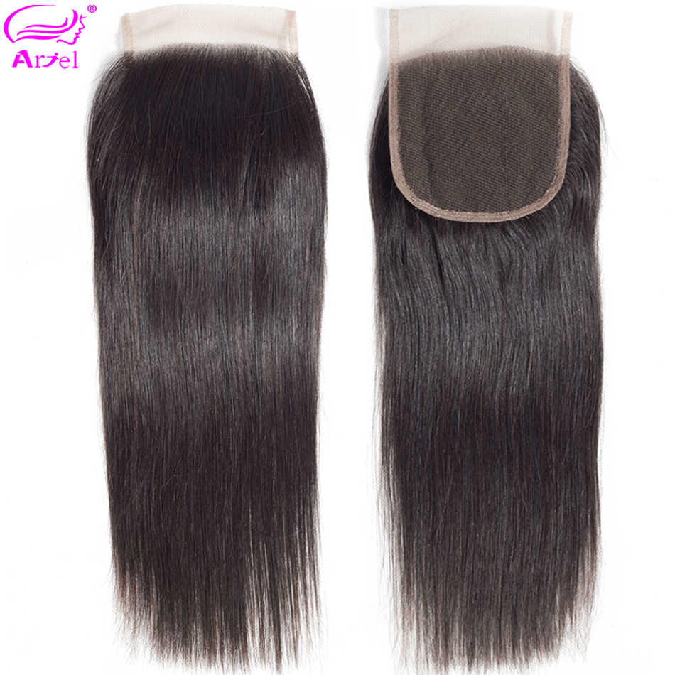 Ariel 4x4 Lace Closure 100% Human Hair Closure Brazilian Hair Weaving Natural Color Remy Hair Straight Frontal Closure Free Part
