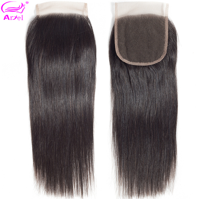 Ariel 4x4 Cierre de encaje 100% Cierre de cabello humano cabello brasileño tejido de Color Natural no Remy cierre Frontal recto la parte libre
