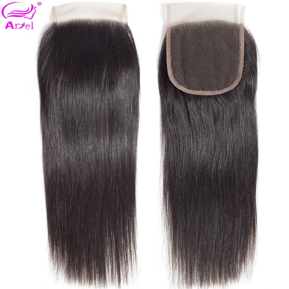 Ariel 4×4 Lace Closure 100% Human Hair Closure Brazilian Hair Weaving Natural Color Non Remy Straight Frontal Closure Free Part