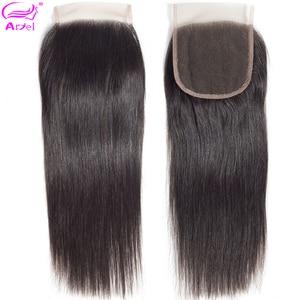 Ariel 4x4 Lace Closure 100% Human Hair Closure Brazilian Hair Weaving Natural Color Remy Hair Straight Frontal Closure Free Part(China)