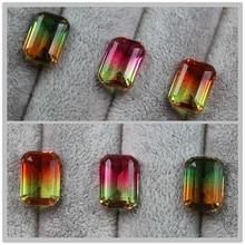 Forma rettangolare watermelon tourmaline perle per monili che fanno allentati gemme di pietra creato bi color