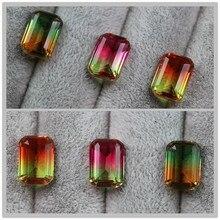 Rechthoek watermeloen toermalijn kralen voor sieraden maken losse edelstenen steen gecreëerd bi gekleurde
