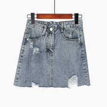Summer Denim Skirt Women Vintage High Waist Jean Slim Pocket Elegant Ripped Hole Blue Skirts