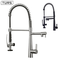 Deck Mounted Hot and Cold Water Brass Kitchen Faucet Nickel Brushed/Black Spring Pull Down Dual Spray Spout Kitchen Mixer Tap