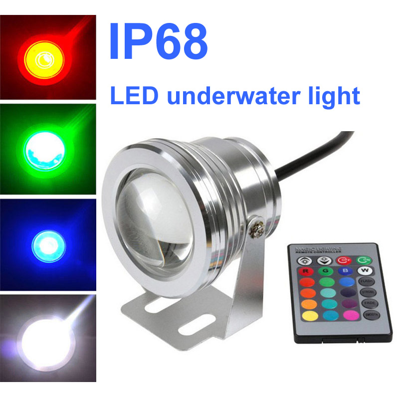 IP68 RGB Led Underwater Light 10W 12V 24V 24keys Remote Control Led Pool Light Spot Led Fountain Lights Swimming Pool Lamp