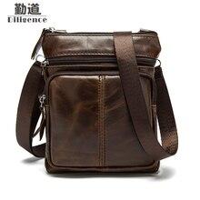Genuine Leather Mens Shoulder Bags Mini Fashion Crossbody Bags Vintage Portable Man Bags