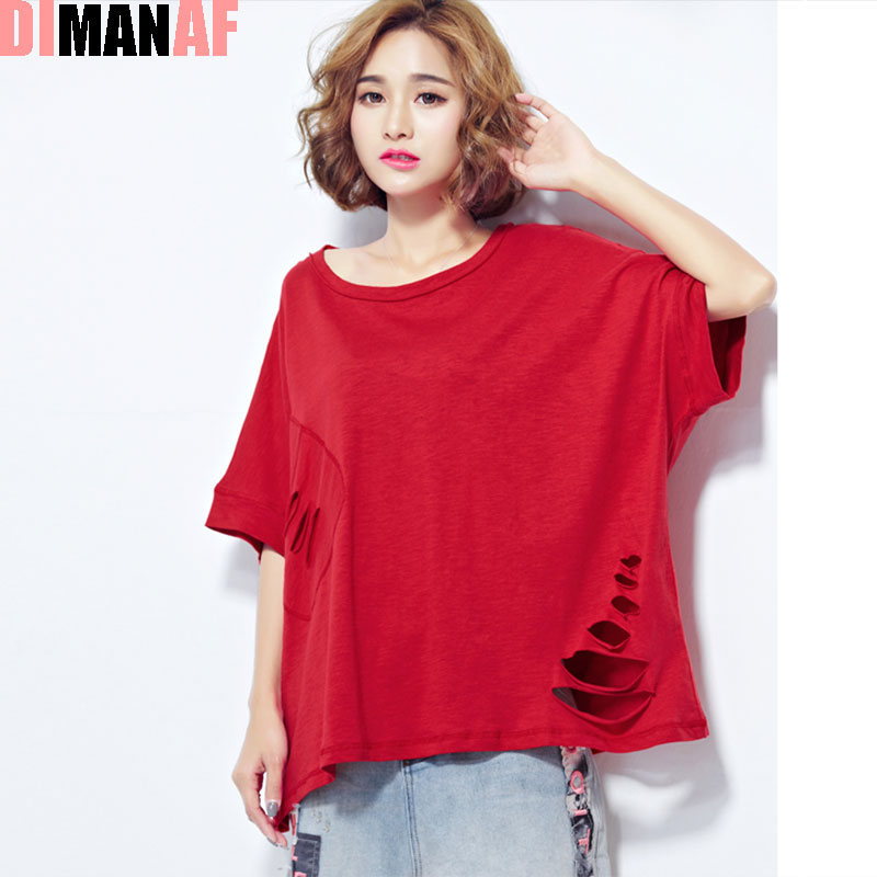Women t shirt plus size summer pattern print hole batwing for Plus size summer shirts