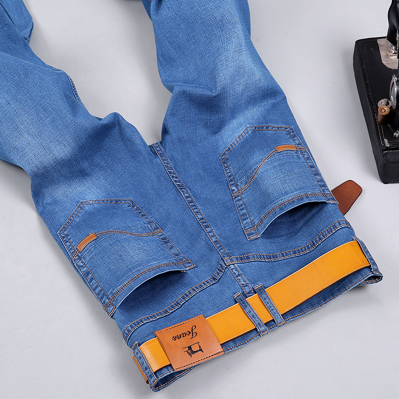 2018 stretch jeans male spring and summer models thin straight business youth loose trousers