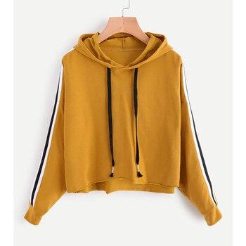 Yellow Sweatshirts Women Hoodies Crop Top Yellow Hoodie Cropped Sweatshirt Clothing for teenager girl Felpe Donna conjuntos casuales para niñas
