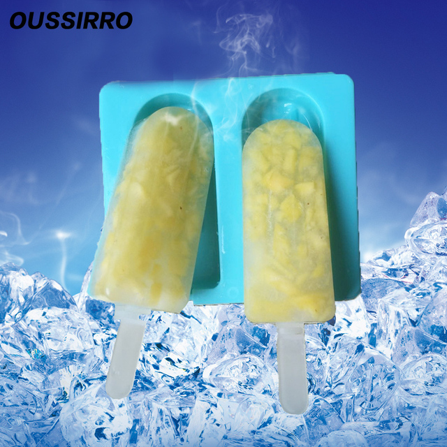 1Set Popsicle Molds Oval Ice Cream Frozen Cube Silicone Homemade