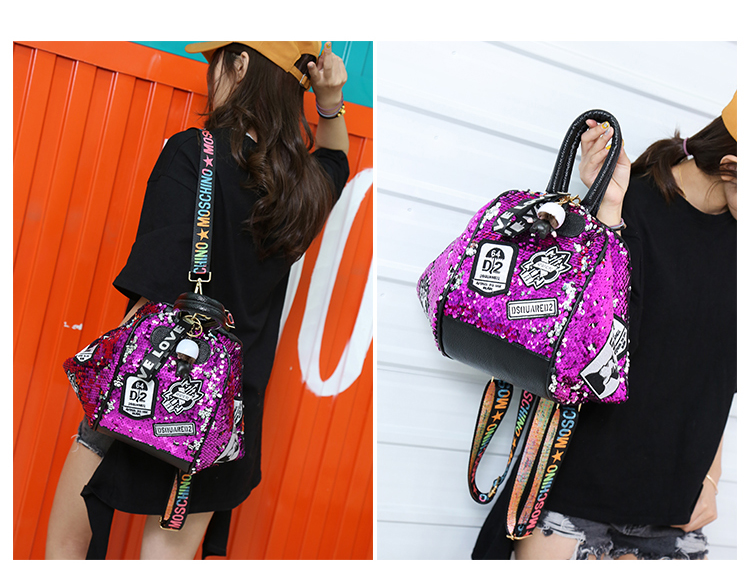 backpack women Fashion Women Bling Shiny Sequins Sparkling Shoulder Bags Larger Capacity Drawstring Bag backpack 80