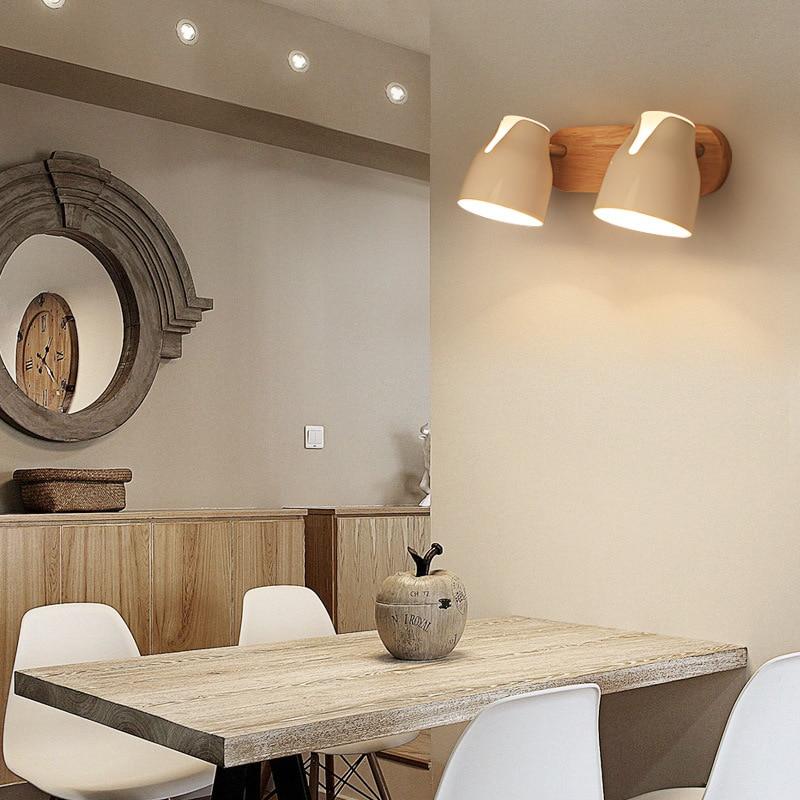 YOOK led wall lamp wood wall lamp bedside reading wall lamp can rotate E27 110V 220V