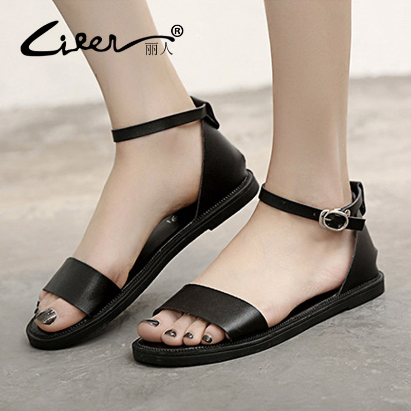 Liren Summer Flat Women Peep-Toe Sandals 2018 New Fashion Style Ladies Shoes Casual Buckle Strap Sandals Solid Color Woman Shoes women s shoes 2017 summer new fashion footwear women s air network flat shoes breathable comfortable casual shoes jdt103
