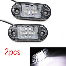 Luz pisca lateral do carro, 2 peças 12v/24v led luzes de aviso luz traseira externa automóvel caminhão lâmpadas de lorry cor branca