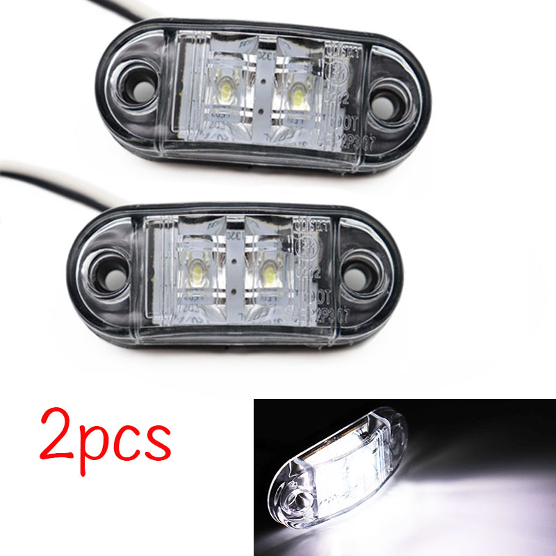 2Pcs 12V / <font><b>24V</b></font> <font><b>LED</b></font> Side Marker Lights Car External Lights Warning Tail Light Auto Trailer <font><b>Truck</b></font> Lorry <font><b>Lamps</b></font> White color image