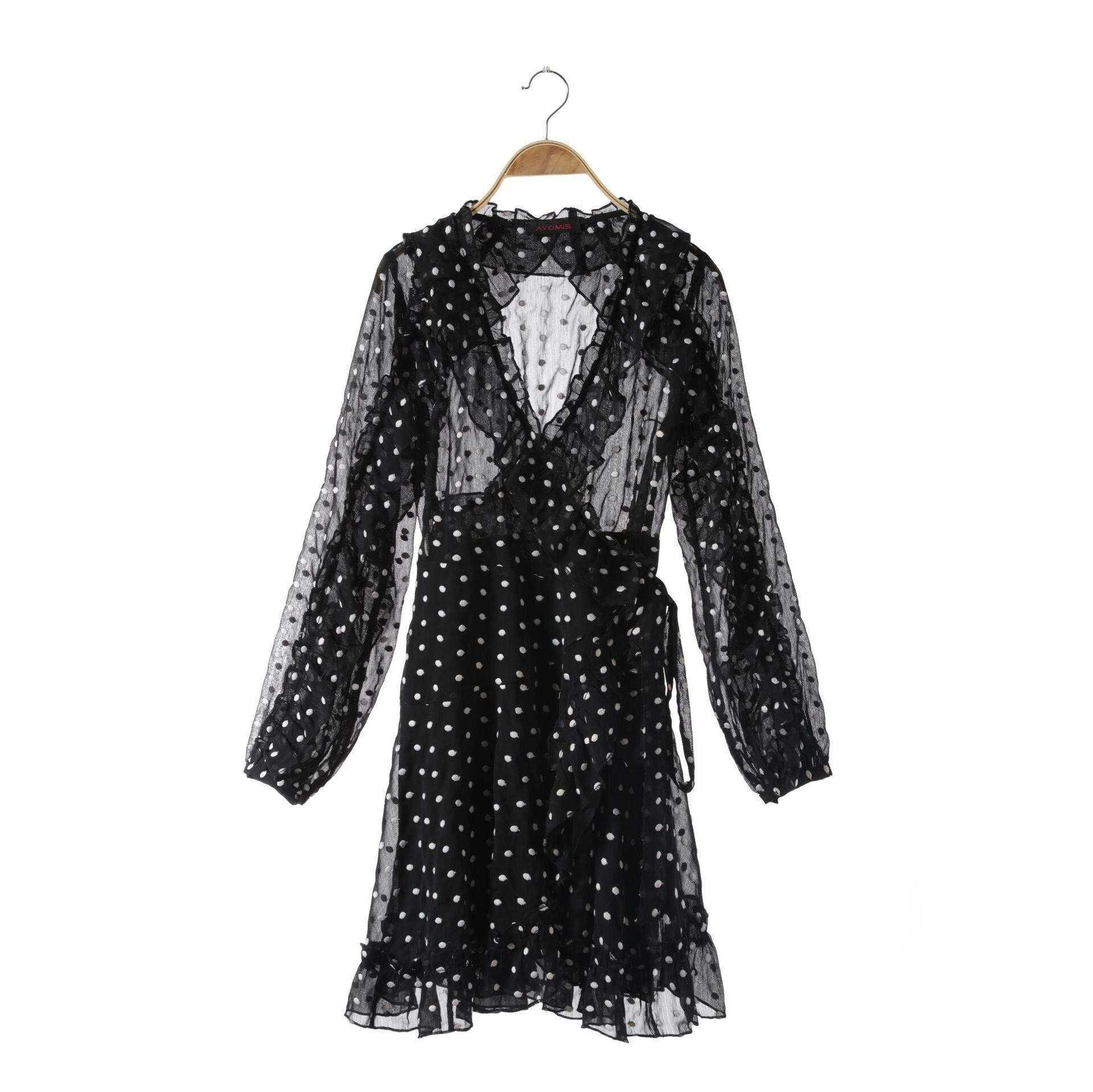 Digne Nouveau F0839 noir Pliant En V See Lady Robe Élégant Oreille Ins Généreux Dentelle Manches Bois Chart Longues 67T7r