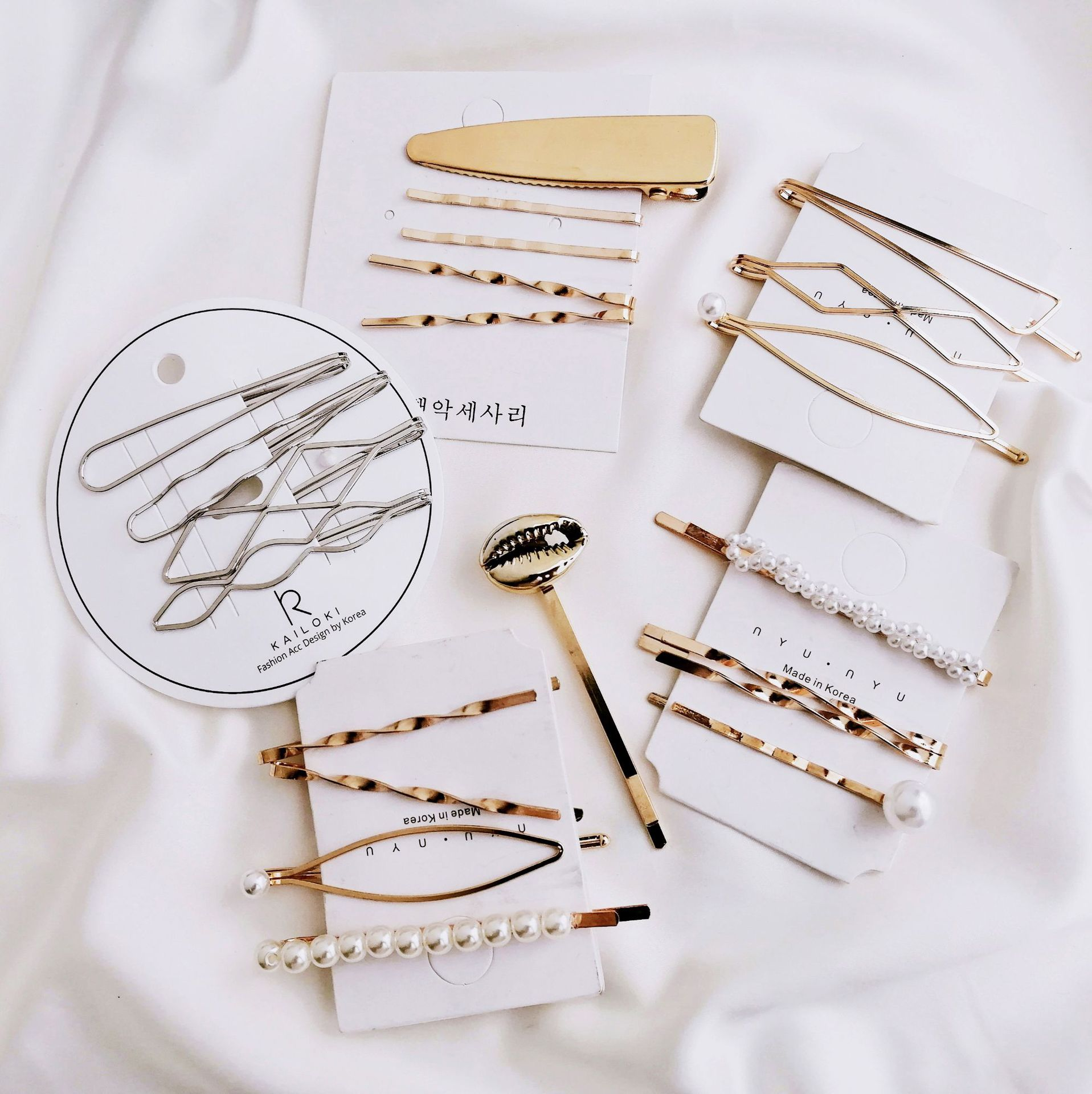 Shell Pearl Metal Hair Clip Hairband Comb Bobby Pin Barrette Hairpin Headdress Accessories woman jewerly(China)