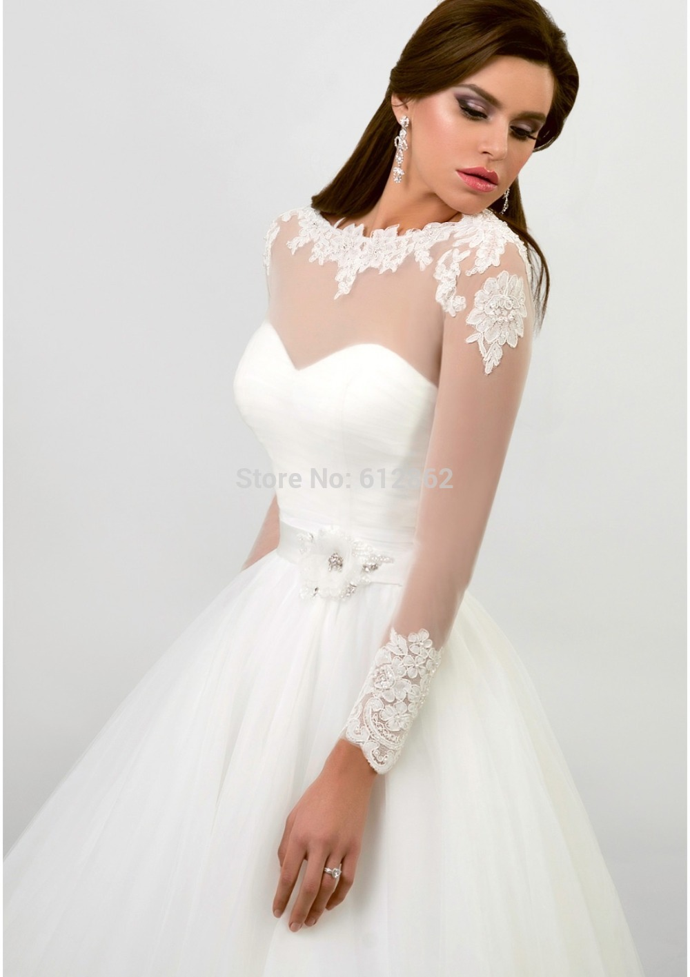 Long Sleeve Ball Gown Long Train Simple Elegant Wedding Gowns-in Wedding  Dresses from Weddings   Events on Aliexpress.com  75619a4d061a